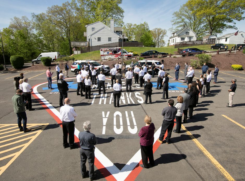 EMS staff are honored during a ceremony at Hunter