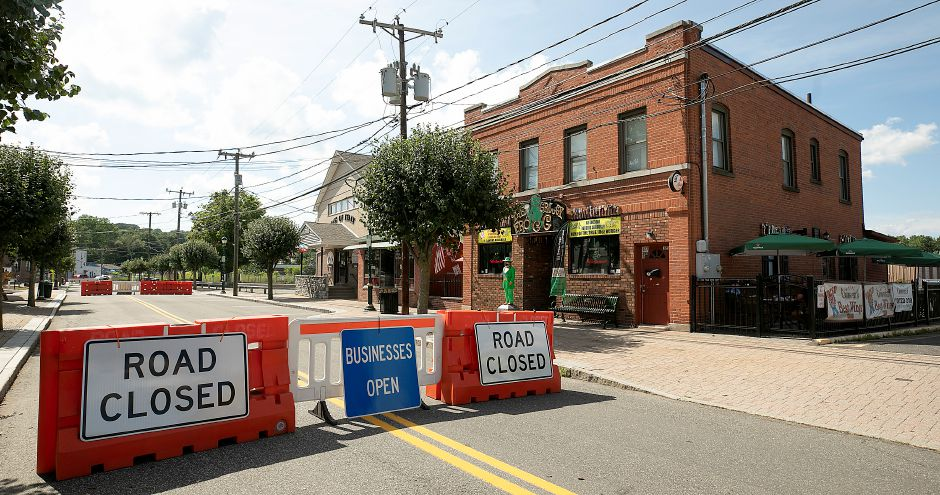 A portion of Center Street in Southington remains closed to vehicles, Mon., Jul. 20, 2020. Last month, the town's Long-Term Recovery Committee voted to keep a portion of the street closed until Gov. Ned Lamont allows restaurants to go back to full capacity indoors. Dave Zajac, Record-Journal