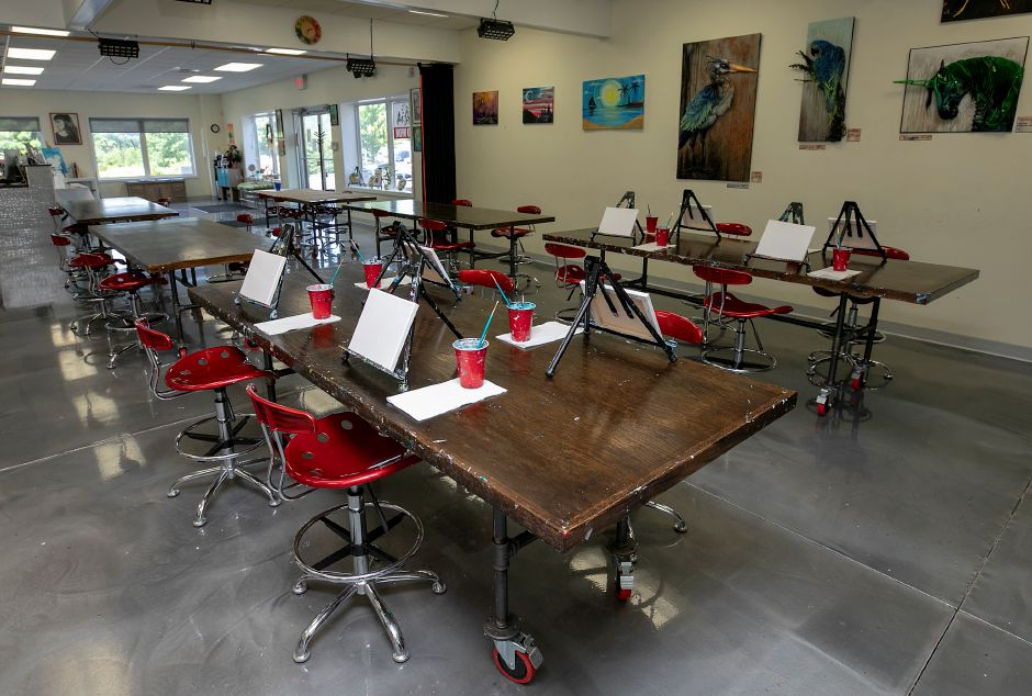 Tables prepared for an afternoon art class at Art Studio of Connecticut, 1850 West St., Southington, Thurs., Jul. 2, 2020. Dave Zajac, Record-Journal