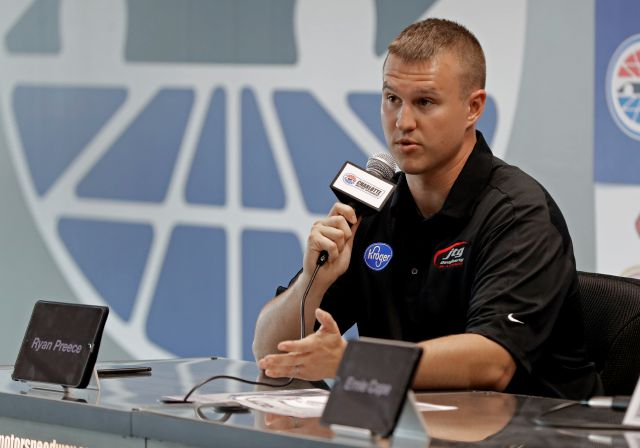 Driver Ryan Preece answers a question during a news conference before a NASCAR Cup series auto race practice at Charlotte Motor Speedway in Concord, N.C., Friday, Sept. 28, 2018. (AP Photo/Chuck Burton)