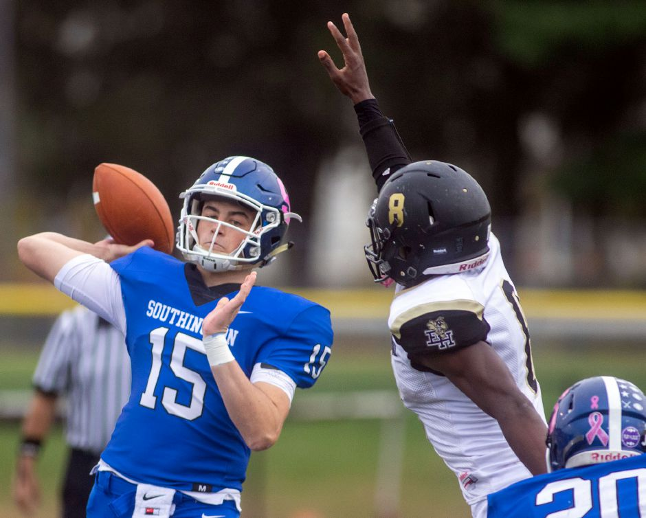 Southington qaurterback Brady Lafferty threw for more than 2,000 yards during the 2019 season. Lafferty will continue his football career and study sports management at the University of New Haven. Aaron Flaum, Record-Journal