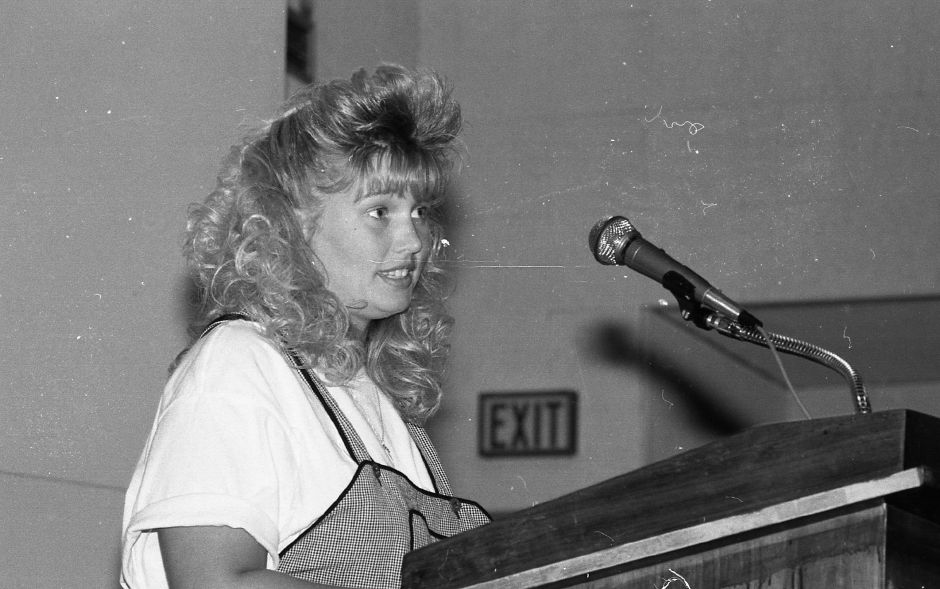 RJ file photo - Kelly McElfish from Sheehan speaks about what it takes to be popular at the Housatonic League Persuasive Speaking Contest held at Sheehan High School, April 1989.