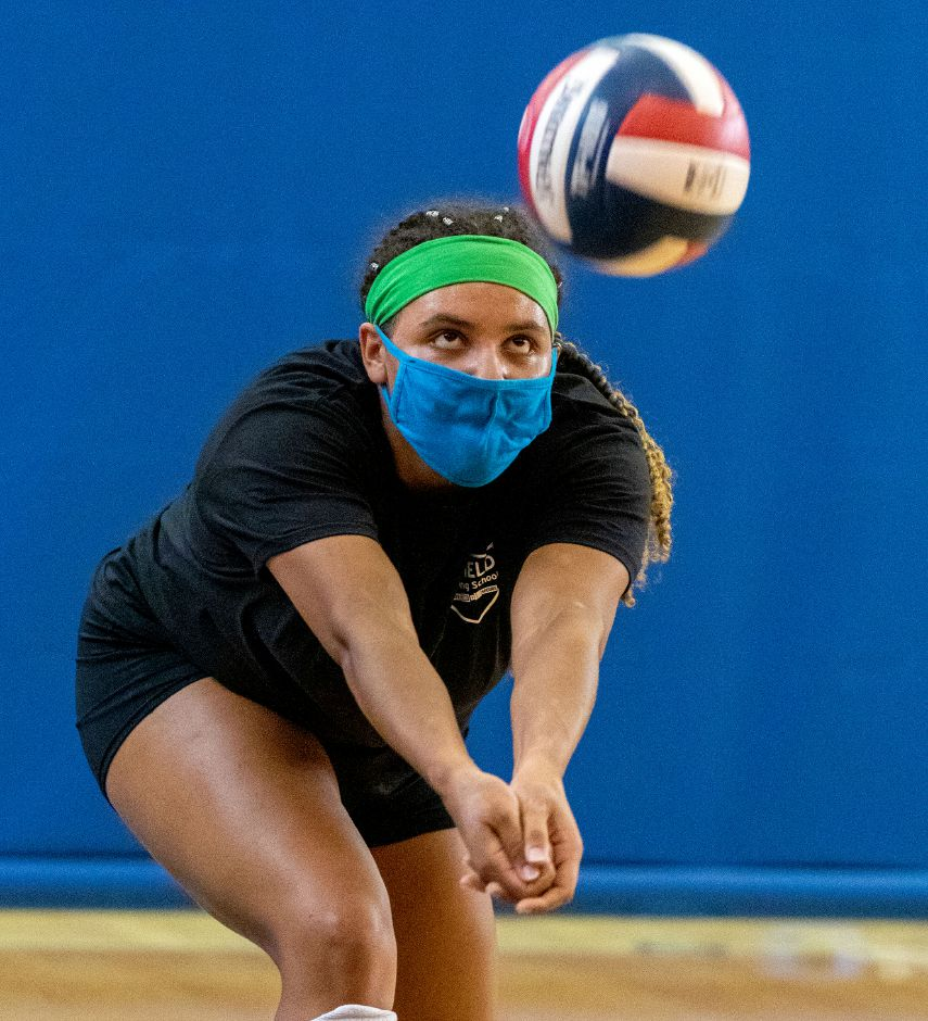 Who is that masked young lady? None other than Platt senior Aaliyah Burnley, who is coming off an All-Record-Journal and All-Conference junior campaign. She'll be among the top area girls this season — a season in which Connecticut volleyball players are required to wear masks while playing. Aaron Flaum, Record-Journal