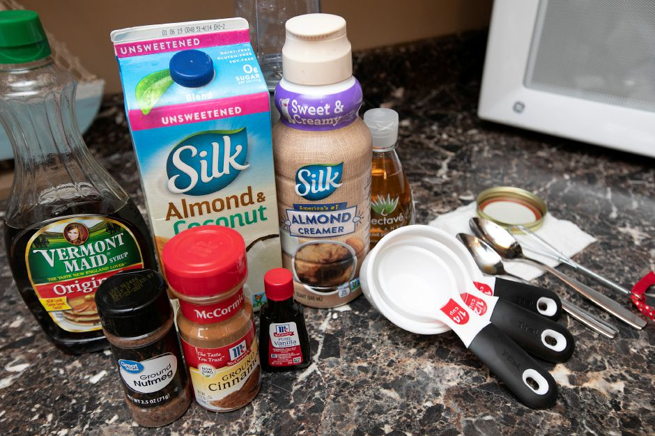 Ingredients for healthy egg-free and dairy-free eggnog.