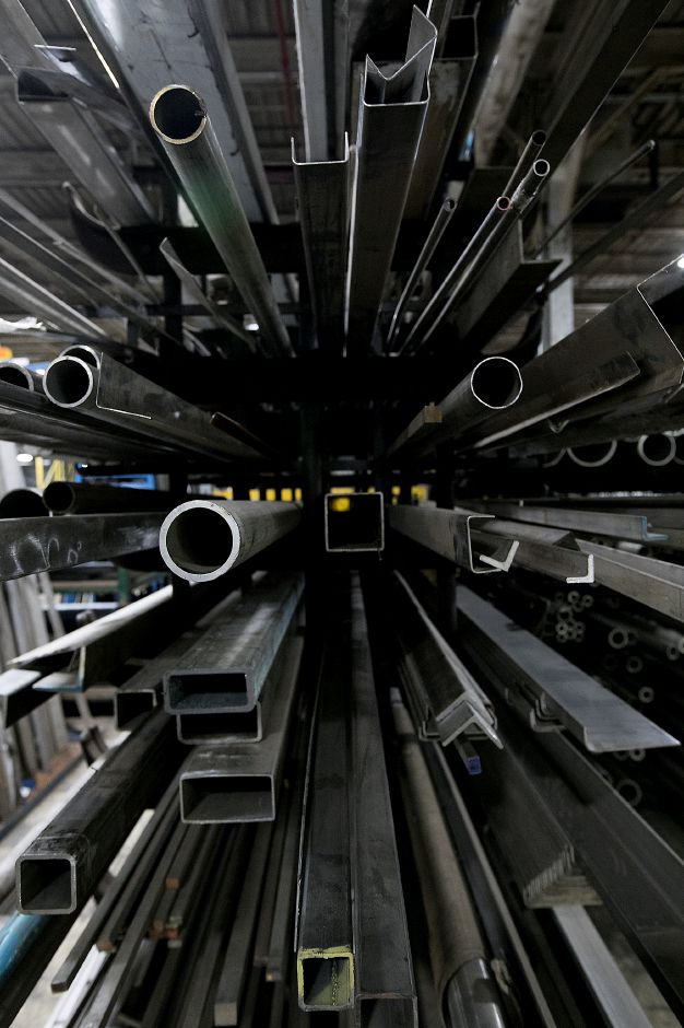 Racks of steel at Logan Steel in Meriden, Monday, March 12, 2018. Industry reactions to President Trump's implementation of a 25 percent tarfff on steel imports and 10 percent on aluminum are mixed depending on the use and product. Dave Zajac, Record-Journal