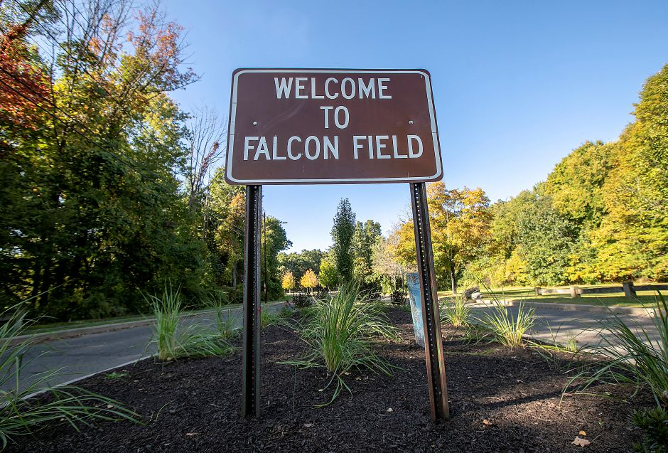 The entrance to Falcon Field in Meriden. State and local health officials and school administrators are monitoring mosquito testing in the wake of two deaths caused by the Eastern Equine Encephalitis virus. A mosquito trapping site at Falcon Field in Meriden has yielded no positive tests for EEE, West Nile virus or Jamestown Canyon virus, according to a Sept. 24 report.