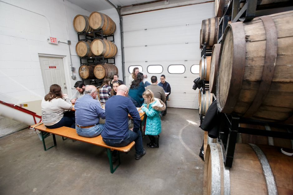 Guests were seated in the Cidery for the buffer style brunch Saturday during Lyman Orchards catered St. Patrick