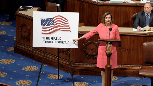 In this image from video, House Speaker Nancy Pelosi of Calif., speaks as the House of Representatives debates the impeachment managers resolution at the Capitol in Washington, Wednesday, Jan. 15, 2020. (House Television via AP)