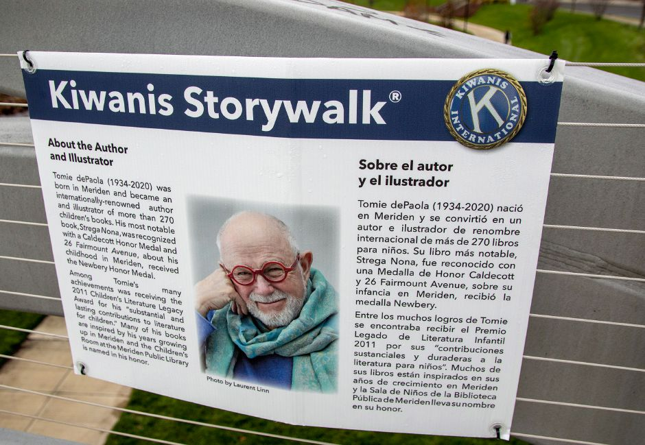 A page from Tomie DePaola's book Jack is on display along the Silver City Bridge at the Meriden Green on Friday, November 26, 2020. Kiwanis International is featuring local author and illustrator Tomie DePaola with a story walk along the bridge. Aaron Flaum, Record-Journal