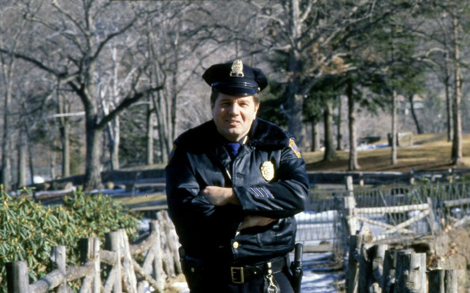 RJ file photo - Ronald J. Tremblay of the Meriden Police, assigned full time to patrol Hubbard Park, says he is proud of his accomplishments during three yeras on the job Jan. 1990.