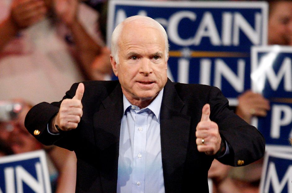 Republican presidential candidate Sen. John McCain, R-Ariz., speaks during a rally in Henderson, Nev. Monday, Nov. 3, 2008. (AP Photo/Isaac Brekken)