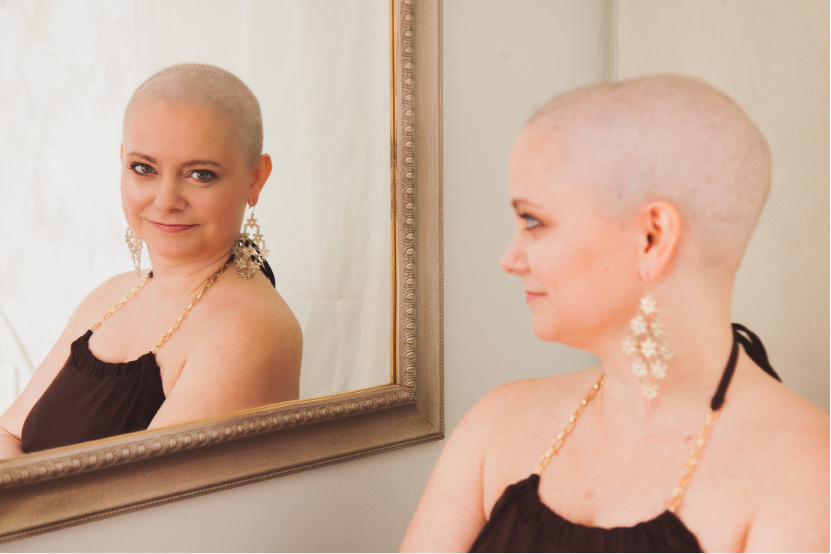 Jamie Collins of Cheshire poses for a photo by Marisa Balletti-Lavoie, owner of Sassy Mouth Photography of Meriden. Collins is battling breast cancer and wanted to feel beautiful in her own skin and Balletti-Lavoie helped her do that.| Courtesy of Marisa Balletti-Lavoie