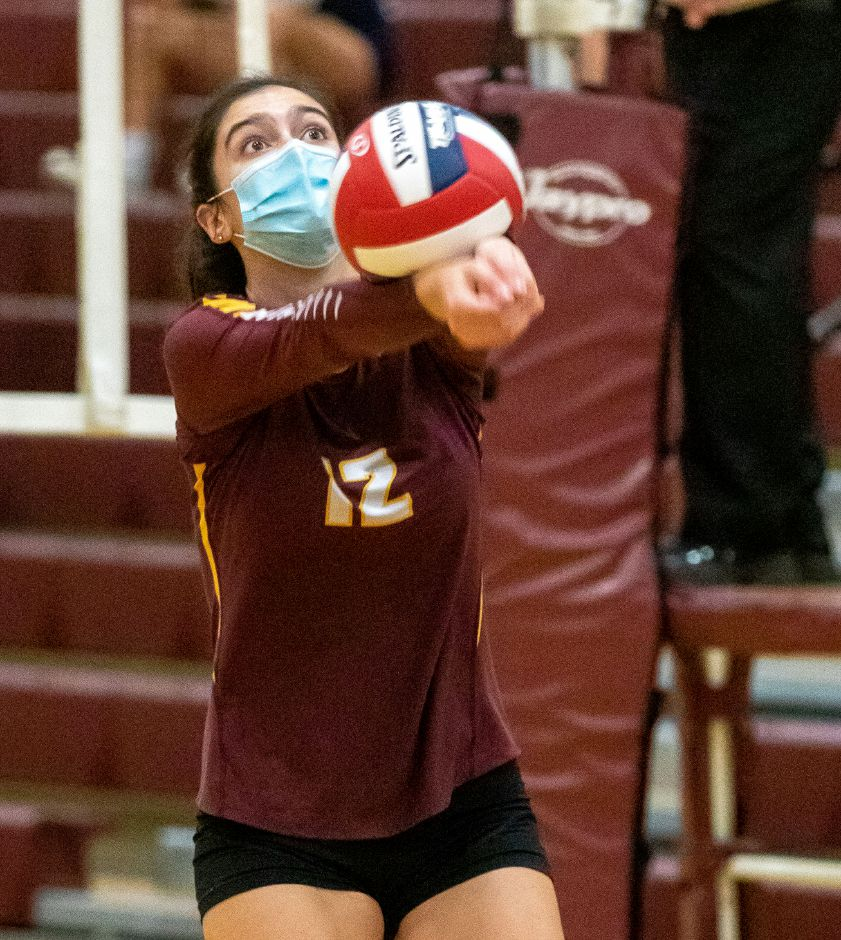 Sheehan's Emily Jockle bumps the ball.