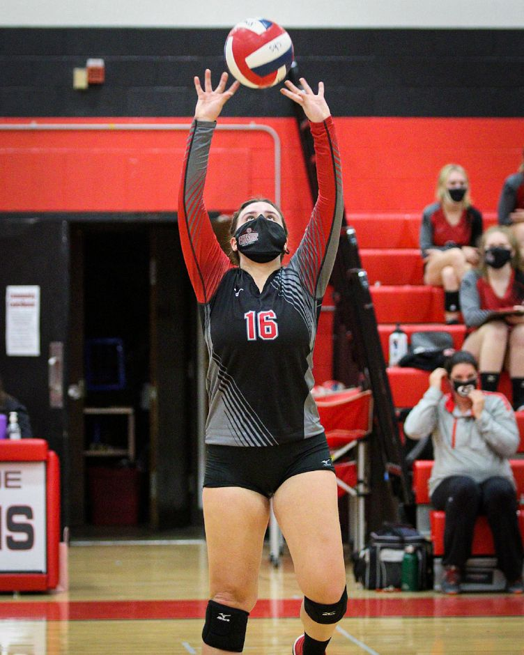 Sarah Holley, named Most Outstanding Player, led Cheshire volleyball to the SCC Division B championship, capped by Friday's 3-0 sweep of North Haven in Cheshire. James Brandolini / Cheshire Herald