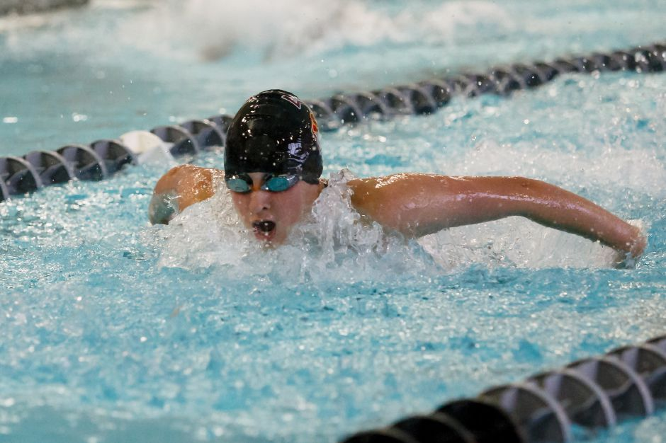One of Sheehan's top returning swimmers is junior Leila Sofiane, seen here competing in the 200 IM. Record-Journal file photo