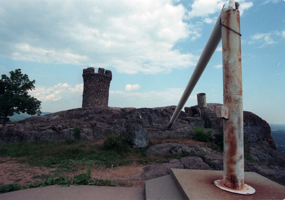 RJ file photo - Broken flag pole next to Castle Craig in Meriden