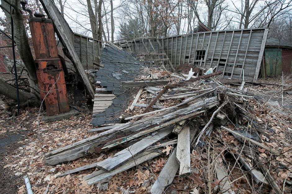 A collapsed structure on the former Beaton & Corbin factory site on North Main Street in Southington, Tues., Jan. 14, 2020. A local developer has proposed a commercial plaza for the site. Dave Zajac, Record-Journal