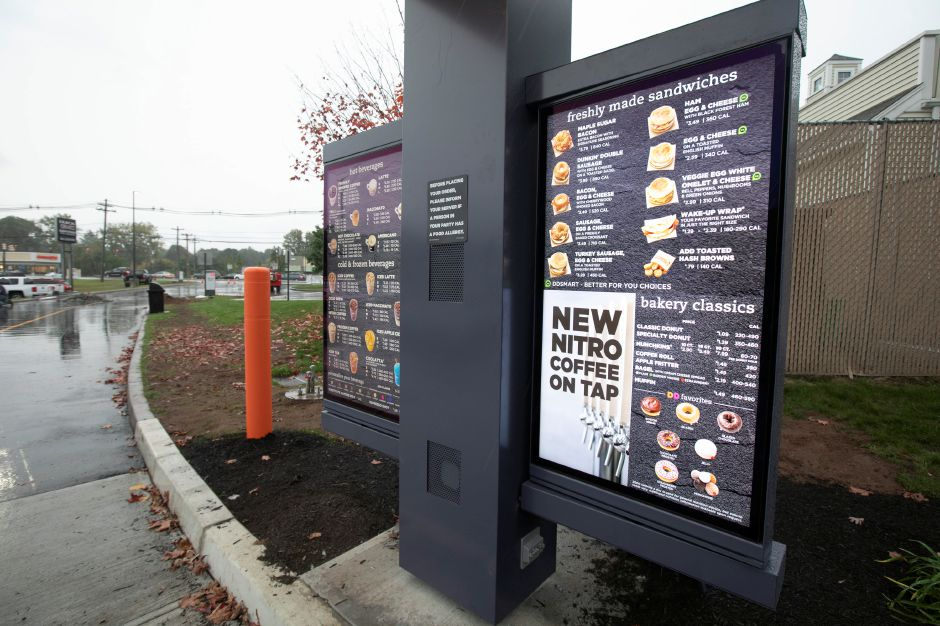 The drive-thru of the newly renovated Dunkin