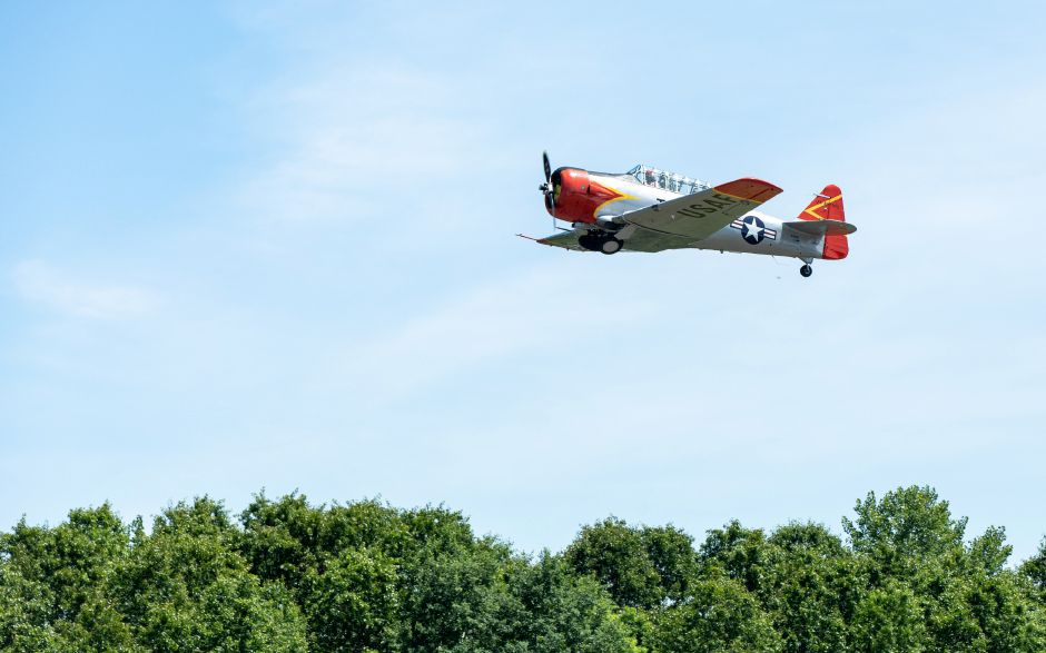 A North American AT-6A Texan takes off display during the Wings and Wheels car and air show at Robertson Airport in Plainville on June 8, 2019. | Devin Leith-Yessian/Plainville Citizen