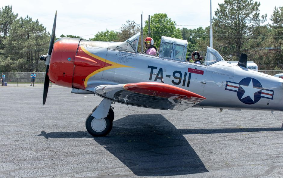 Pilot Mark Simmons prepares for take off in a North American AT-6A Texan during the Wings and Wheels car and air show at Robertson Airport in Plainville on June 8, 2019. | Devin Leith-Yessian/Plainville Citizen
