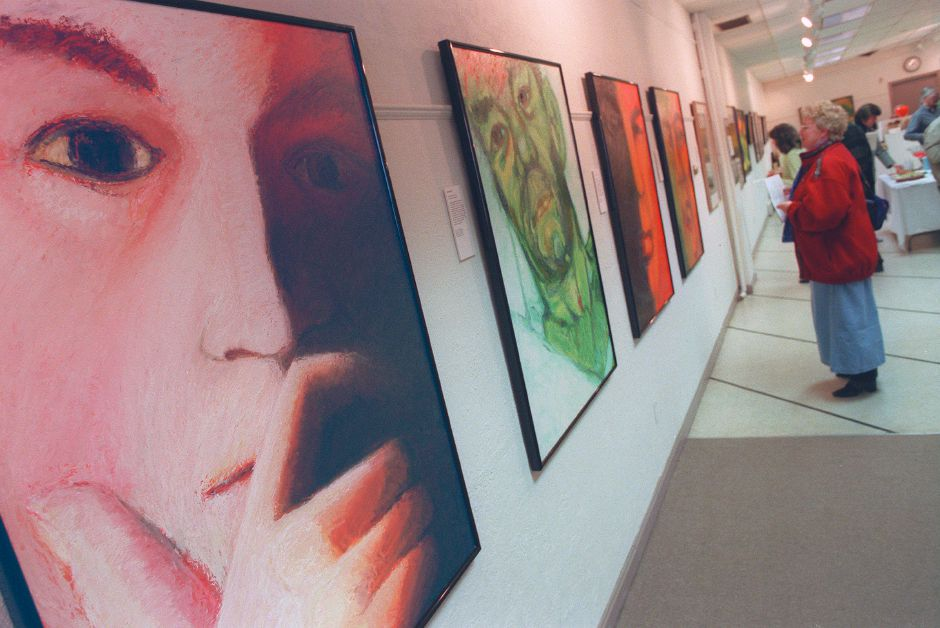 RJ file photo - The works of artist Jack Lardis - Expressionist portraits and nudes - on display at Gallery 53 in Meriden, March 1999.