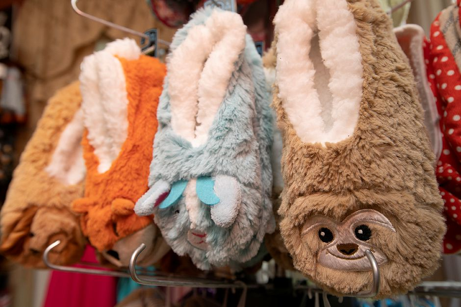 Animal slippers available at The Gift Box shop.