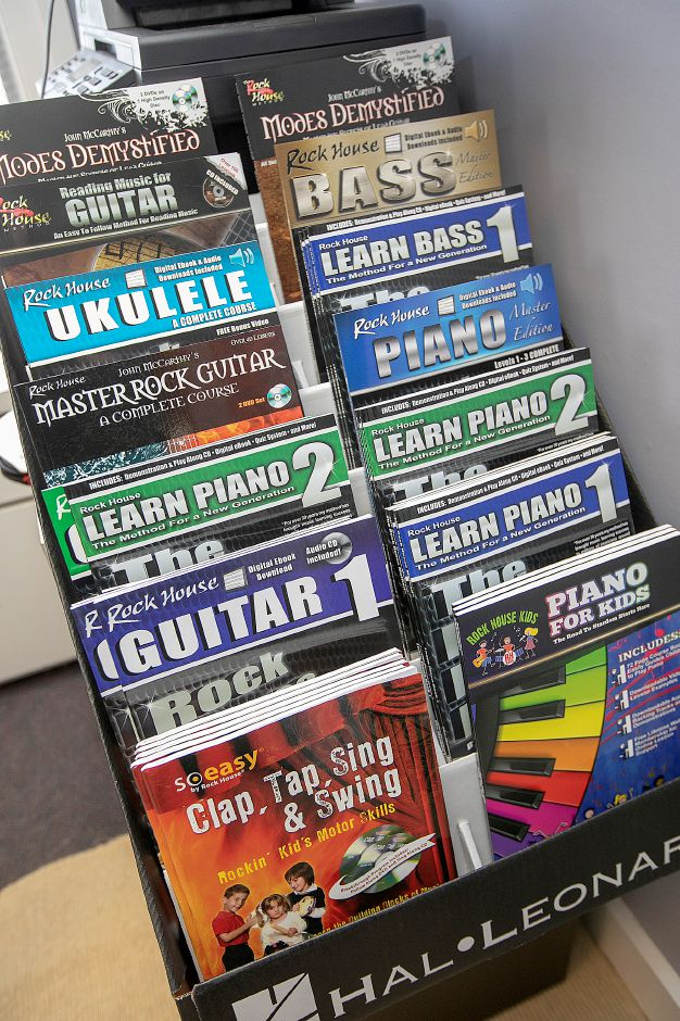 Musical instruction books by John McCarthy, owner of Rock House School of Music, a new business, 393 Center St., Wallingford, Tues., May 7, 2019. McCarthy has published more than 120 music instruction books and video programs. Dave Zajac, Record-Journal