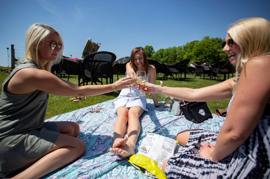 From left, Taylor Burgyn of Watertown, Sarah Wrabel of Burlington and Sarah Fox of Cromwell cheers while enjoying a glass of wine at Paradise Hills Vineyards in Wallingford May 24, 2018. | Richie Rathsack, Record-Journal