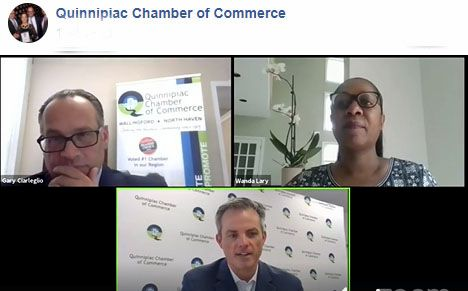 Gary Ciarleglio, of the Quinnipiac Chamber of Commerce; Wanda Lary of Workforce Alliance; and Garrett Sheehan, chamber president and CEO, discuss workforce development resources for both employees and employers in the region.