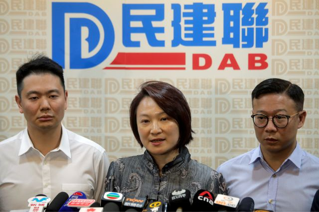Starry Lee, center, chairperson of pro-Beijing party Democratic Alliance for Betterment of Hong Kong (DAB) speaks at a press conference following her candidates defeat in the local district council election in Hong Kong, Monday, Nov. 25, 2019. The pro-democracy opposition appears to have swept to a resounding victory in Hong Kong elections, as a record turnout dealt a clear rebuke to city leader Carrie Lam and her handling of violent protests that have divided the Chinese territory. (AP...
