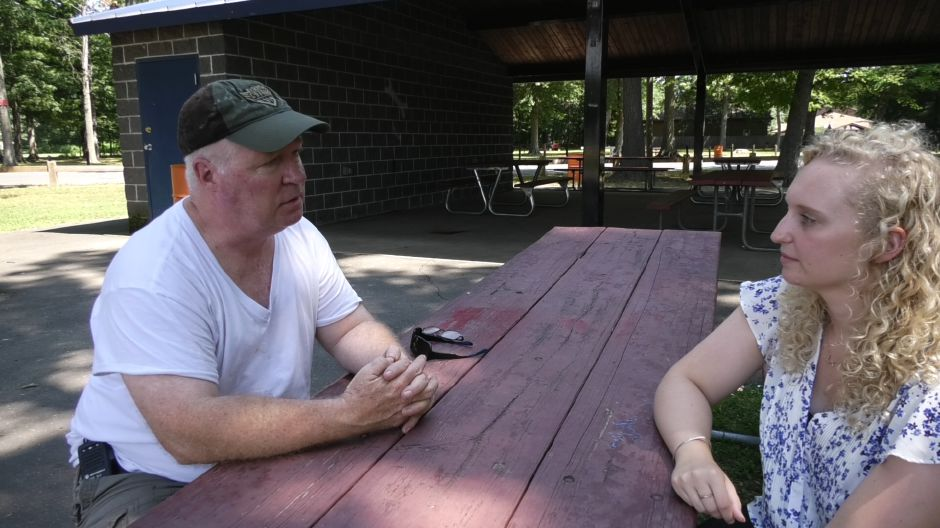 Plainville Hot Air Balloon Festival Chairman Jim Lenois Sr. talks with Record-Journal reporter Bailey Wright at Norton Park in Plainville on August 19, 2019. | Bailey Wright, Record-Journal