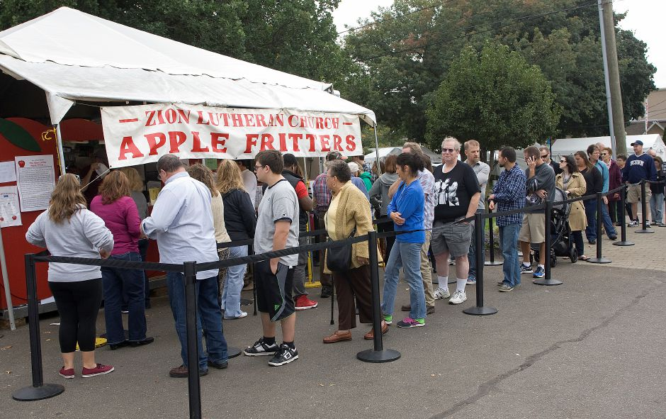 The fritter faithful line up at Zion Lutheran Church