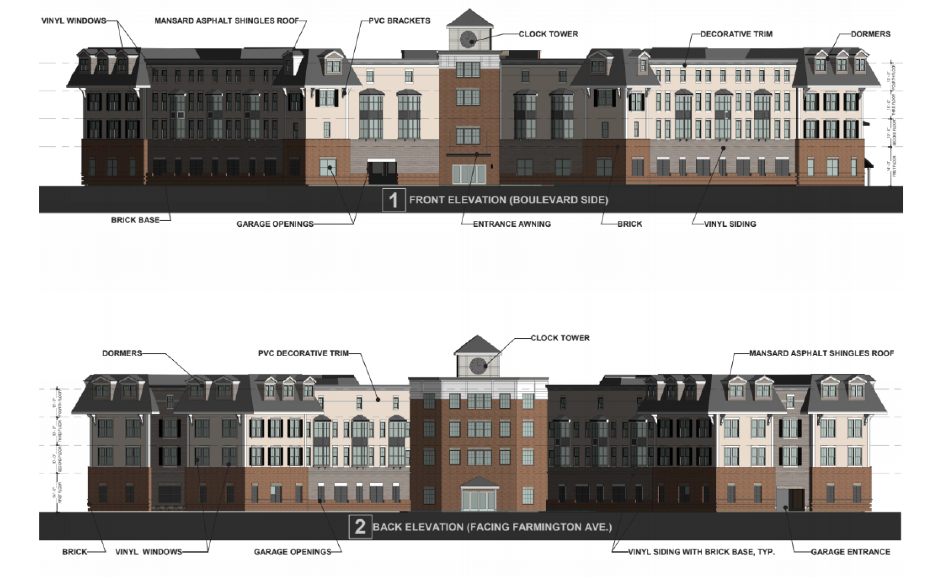 A rendering of the two apartment buildings that are part of a mixed use development that would build five buildings and a boulevard adjacent to the Berlin train station. The project's site plan and special permit were approved during the Sept. 19, 2019 Planning and Zoning Commission meeting, where the renderings were also displayed. | Image courtesy of Newport Realty