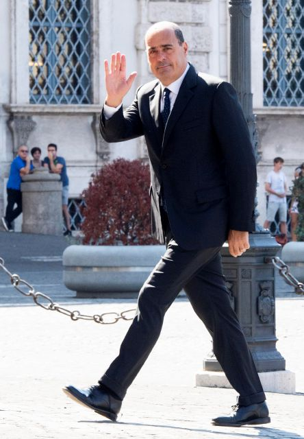 Democratic Party leader Nicola Zingaretti arrives at Quirinale palace for a meeting with Italian President Sergio Mattarella, in Rome, Thursday, Aug. 22, 2019. President Sergio Mattarella continued receiving political leaders Thursday, to explore if a solid majority with staying power exists in Parliament for a new government that could win the required confidence vote. (Claudio Peri/ANSA via AP)