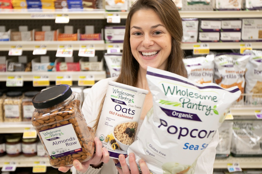Marisa McCoy, dietitian, holds a variety of healthy foods offered at ShopRite in Wallingford, Thurs., Jan. 9, 2020. McCoy advises customers, holds in-store demos and cooking classes and helps choose what products the store buys. Dave Zajac, Record-Journal