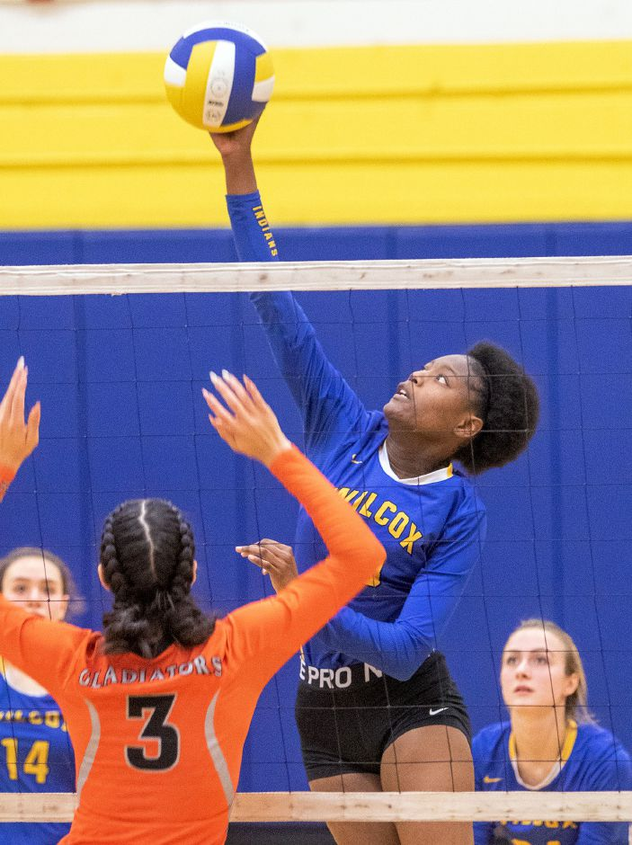 Sacaria Cooper, seen here in a match from last season, collected five kills and five aces in leading the unbeaten Wilcox Tech volleyball team to a 3-1 victory over Innovation on Tuesday in Meriden. The Indians are 9-0. Aaron Flaum, Record-Journal