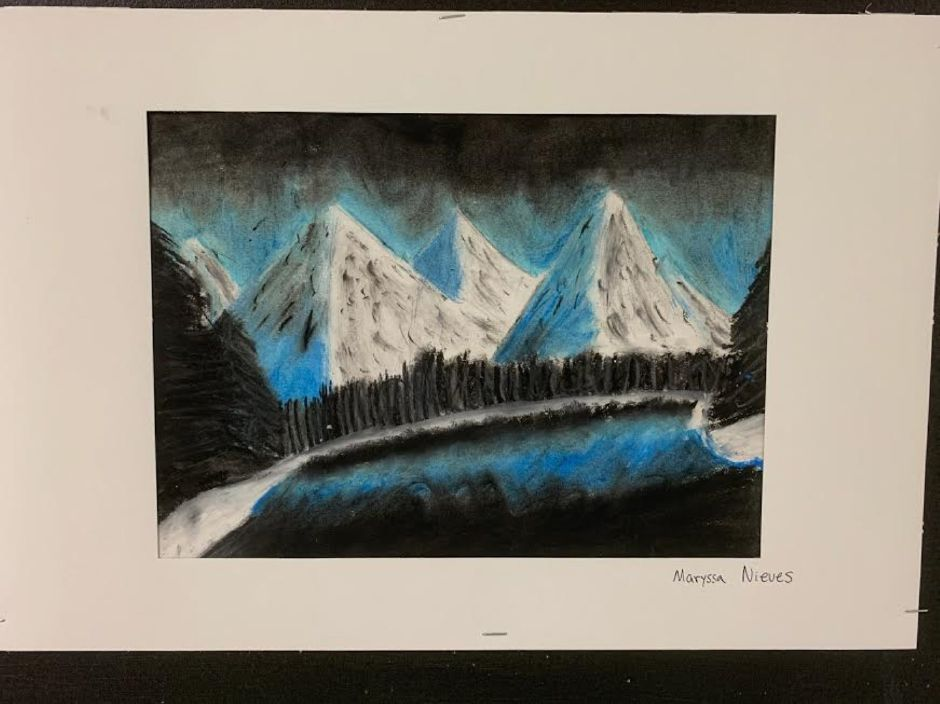 This piece was created by Middle School of Plainville seventh grader Maryssa Nieves. MSP Art Teacher Laura Meehan said her students are brimming with creativity.