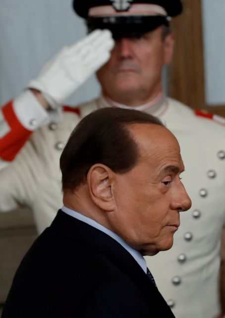 Forza Italia party leader Silvio Berlusconi leaves after meeting Italian President Sergio Mattarella, in Rome, Thursday, Aug. 22, 2019. President Sergio Mattarella continued receiving political leaders Thursday, to explore if a solid majority with staying power exists in Parliament for a new government that could win the required confidence vote. (AP Photo/Alessandra Tarantino)