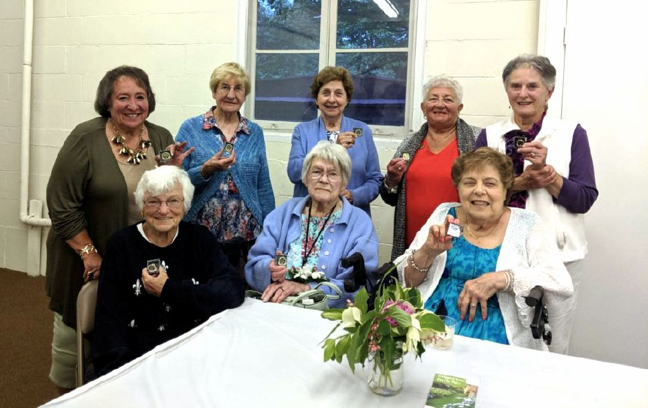 North Haven Garden Club life members are pictured. Seated: Lois Gough, Lois Stover and Amy Salvati. Standing: Gerri Giordano, Brenda Howlett, Gloria Peach, Marie Tiberio and Annette Bailey.