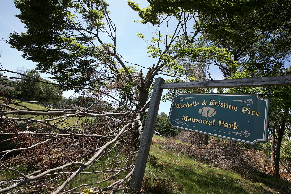 One of many fallen tree limbs at Mischelle & Kristine Pire Memorial Park on Birch Drive in Wallingford, Tuesday, June 12, 2018. Teams from the Federal Emergency Management Agency visited Wallingford Tuesday morning to survey the damage from the May 15 storm. Dave Zajac, Record-Journal