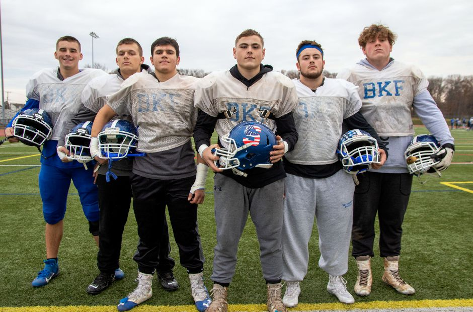 Ryan Andrews, far right, lined up for a photo a few days before the 2019 Apple Classic with fellow Southington offensive linement Dave Sullivan, Josh Brilla, Luke Deangelis, Tommy Nardi and Jacob Vecchio. Andrews is going on to play at Marist College. He will study business. Aaron Flaum, Record-Journal