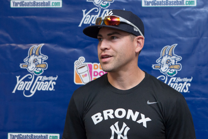 Jacoby Ellsbury, working his way back to the New York Yankees after suffering a concussion and neck sprain, talks about his rehab during a press conference at Dunkin' Donuts Park in Hartford Thursday. | Justin Weekes, Special to the Record-Journal