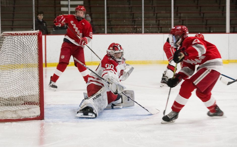 Senior goalie/captain Nick Maringola has been the backbone of the Cheshire hockey team's 4-1 start. He made a career-high 48 saves in Monday's 5-4 win over Sheehan.Joey Jones, The Cheshire Herald