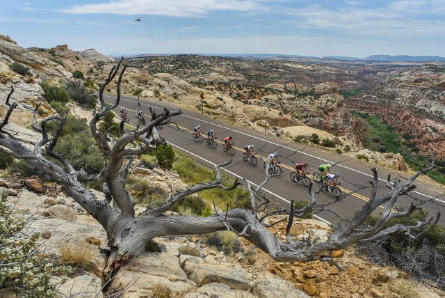 FILE - In this Aug. 2, 2016, file photo, cyclists race along the scenic Byway 12 above the Grand Staircase-Escalante National Monument during the Tour Of Utah bike race. President Joe Biden said Wednesday, Jan. 20, 2021, he plans to review the Trump administration