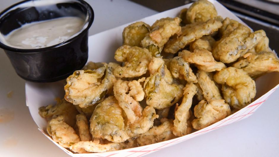 At left, fried pickles at the Lobster Tails Food Truck in Wallingford.