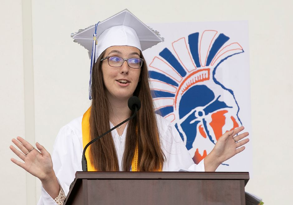 Valedictorian Lea Cioffi delivers her speech.