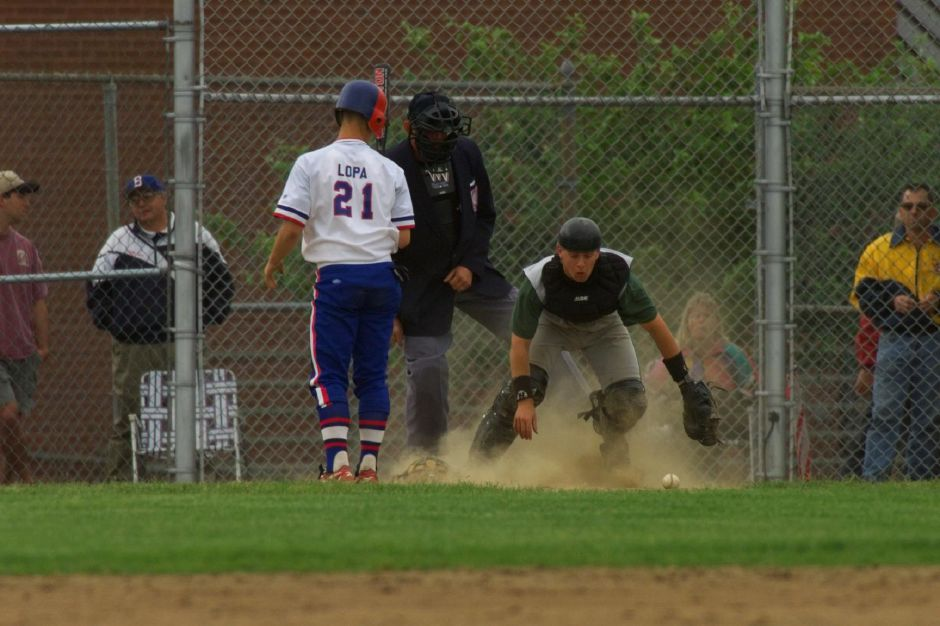 Josh goes after a loose ball during a game at Southington, June 1999