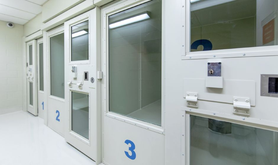 The holding cells at the Berlin Police Department were fitted with ventilation, new beds and plexiglass doors. Completed at the end of December 2019, the work replaced the previous doors, after a prisoner attempted to hang themself on the metal bars of one door, resulting in officers having to be posted outside the cells whenever they were occupied. See more photos online at https://www.myrecordjournal.com/news/berlin-citizen