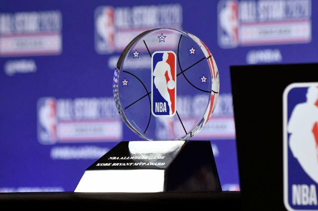 The NBA All-Star Game Kobe Bryant MVP Award is displayed during a news conference Saturday in Chicago. Associated Press
