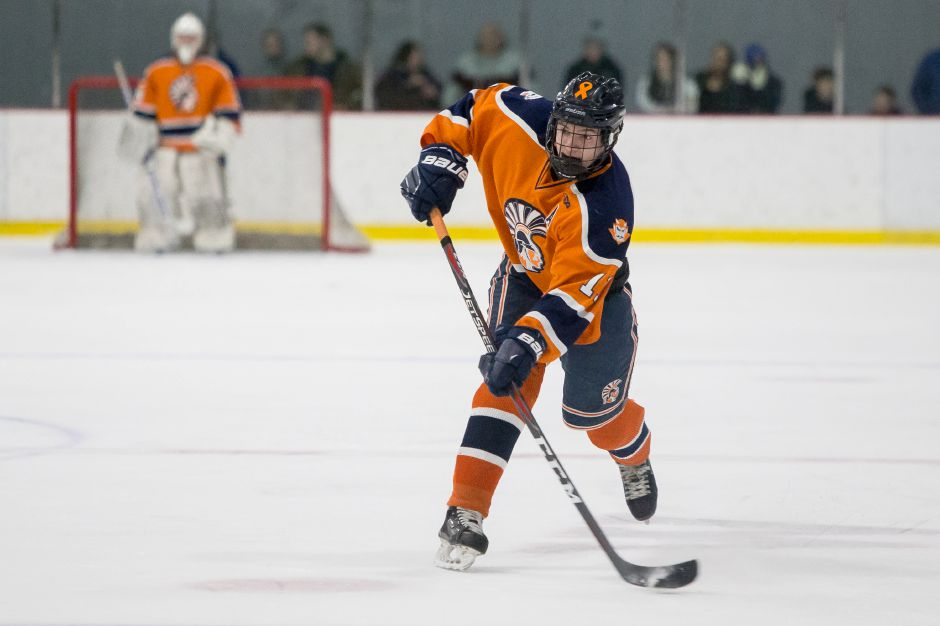 Matt Pettit had one of two short-handed goals for the Lyman Hall Co-op in Wednesday's 2-1 win over the Milford Co-op at Northford Ice Pavilion. | Record-Journal file photo